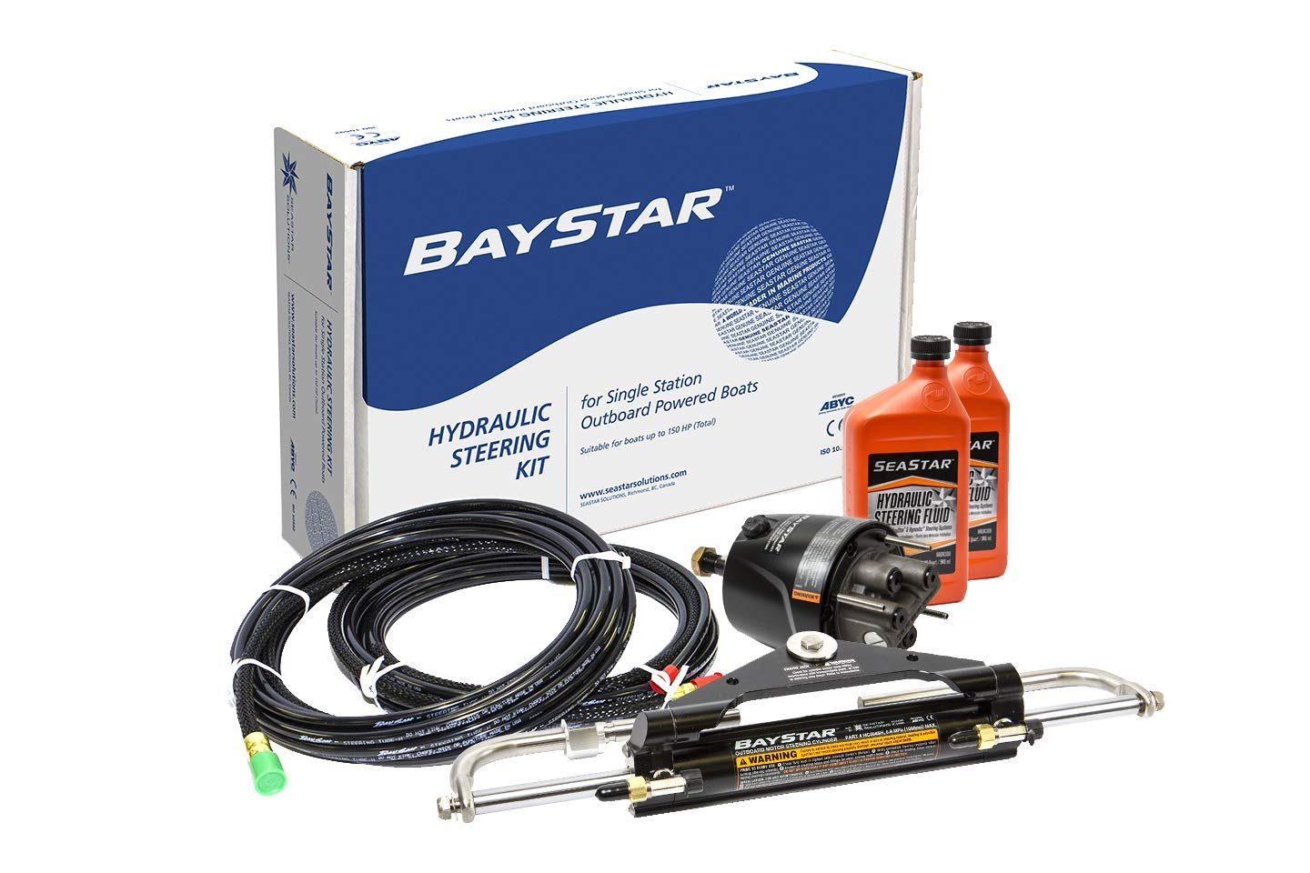 Baystar Kit, HK4200A-3, Hydraulic Steering Kit with Compact Cylinder with 20' Tubing by Sierra International