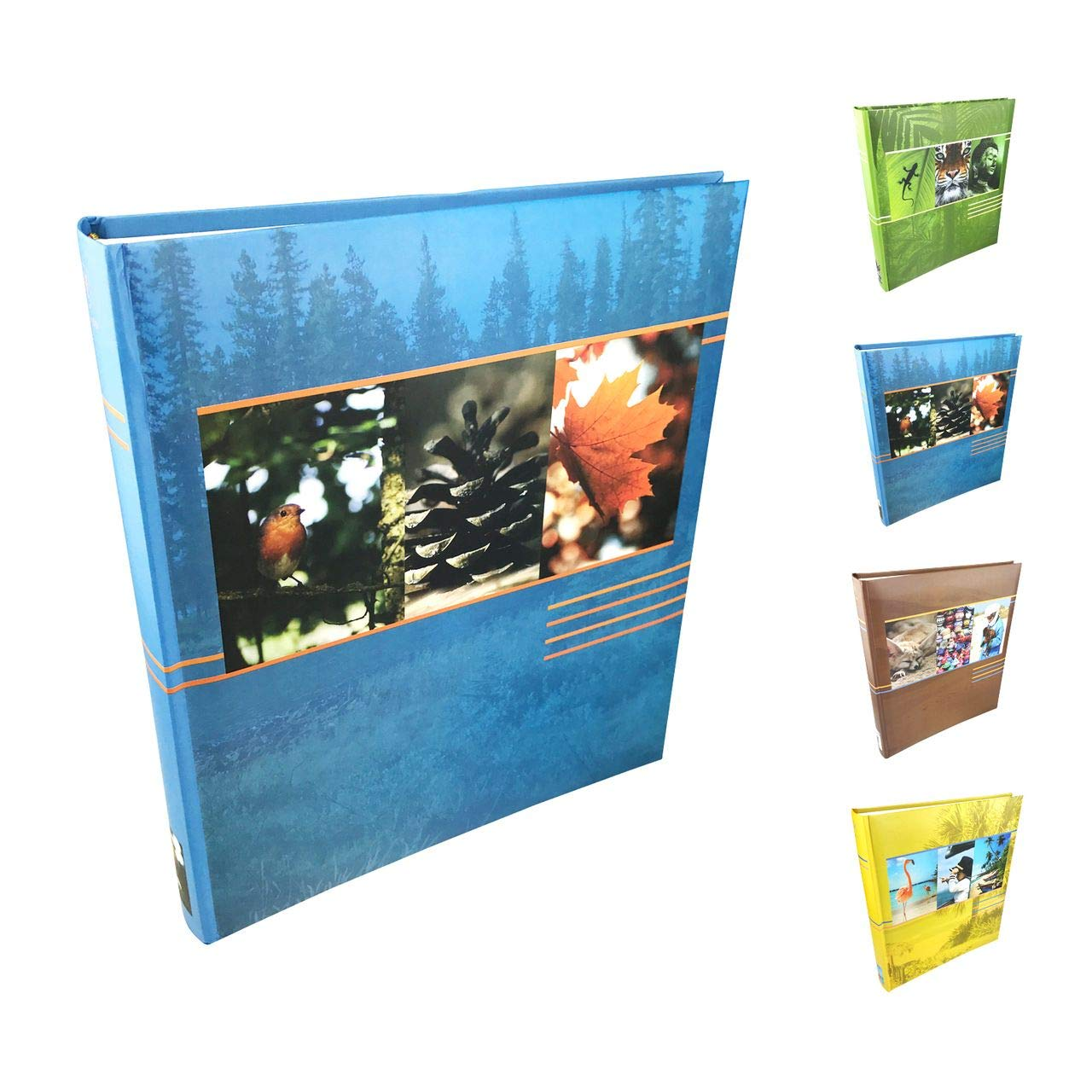 Henzo Album photo Earth–pour jusqu'à 500photos 10x 15, Album de qualité gebundenes, 33x 29x 5cm (hauteur), 100pages blanches–Vert, bleu, marron ou jaune au choix quantio
