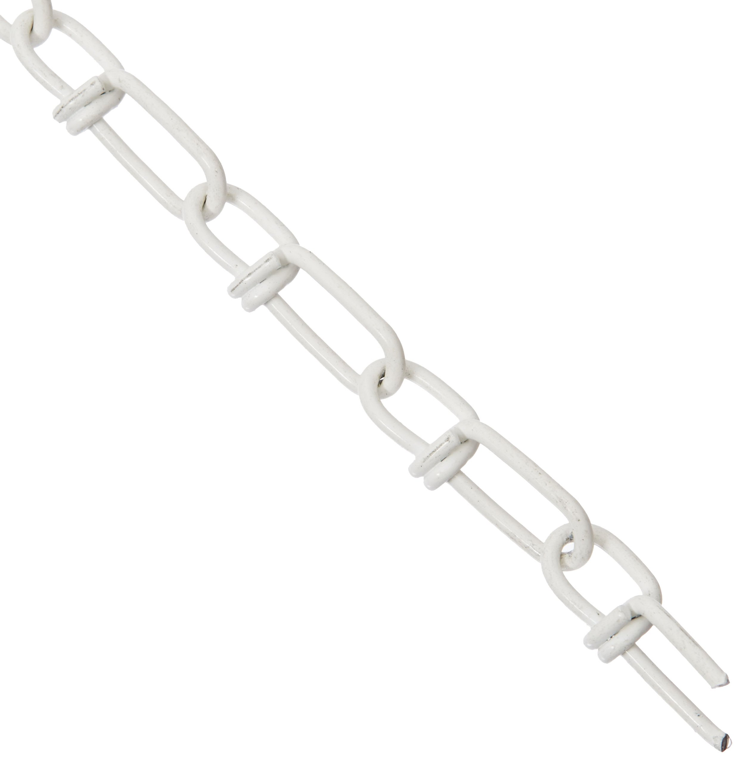 ASC MC13031715 Low Carbon Steel Inco Double Loop Chain, Polycoated White, #3 Trade, 0.08'' Diameter x 150' Length, 90 lbs Working Load Limit
