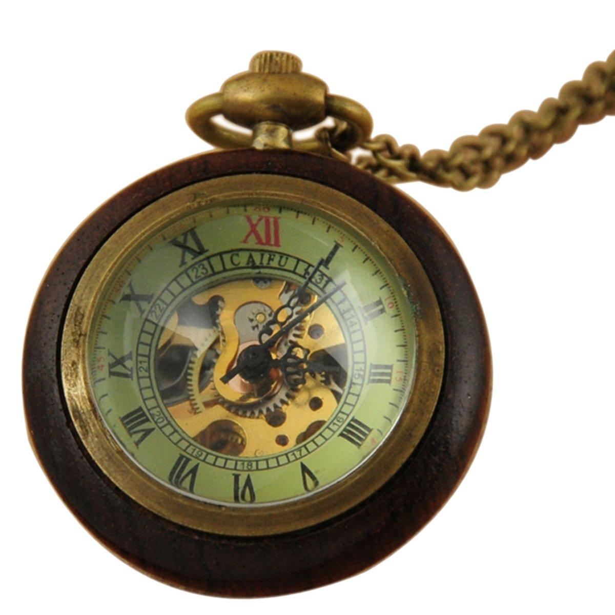 VIGOROSO Men's Retro Vintage Wood Bronze Skeleton Steampunk Hand Winding Antique Gifts Pocket Watch
