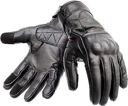 guantes de verano con nudillos duros con pantalla t/áctil//guantes de invierno a prueba de agua Invierno no perforado, X Large Hand Fellow Guantes de cuero para motocicleta