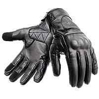 Hand Fellow Guantes de moto de piel con diseño de mano