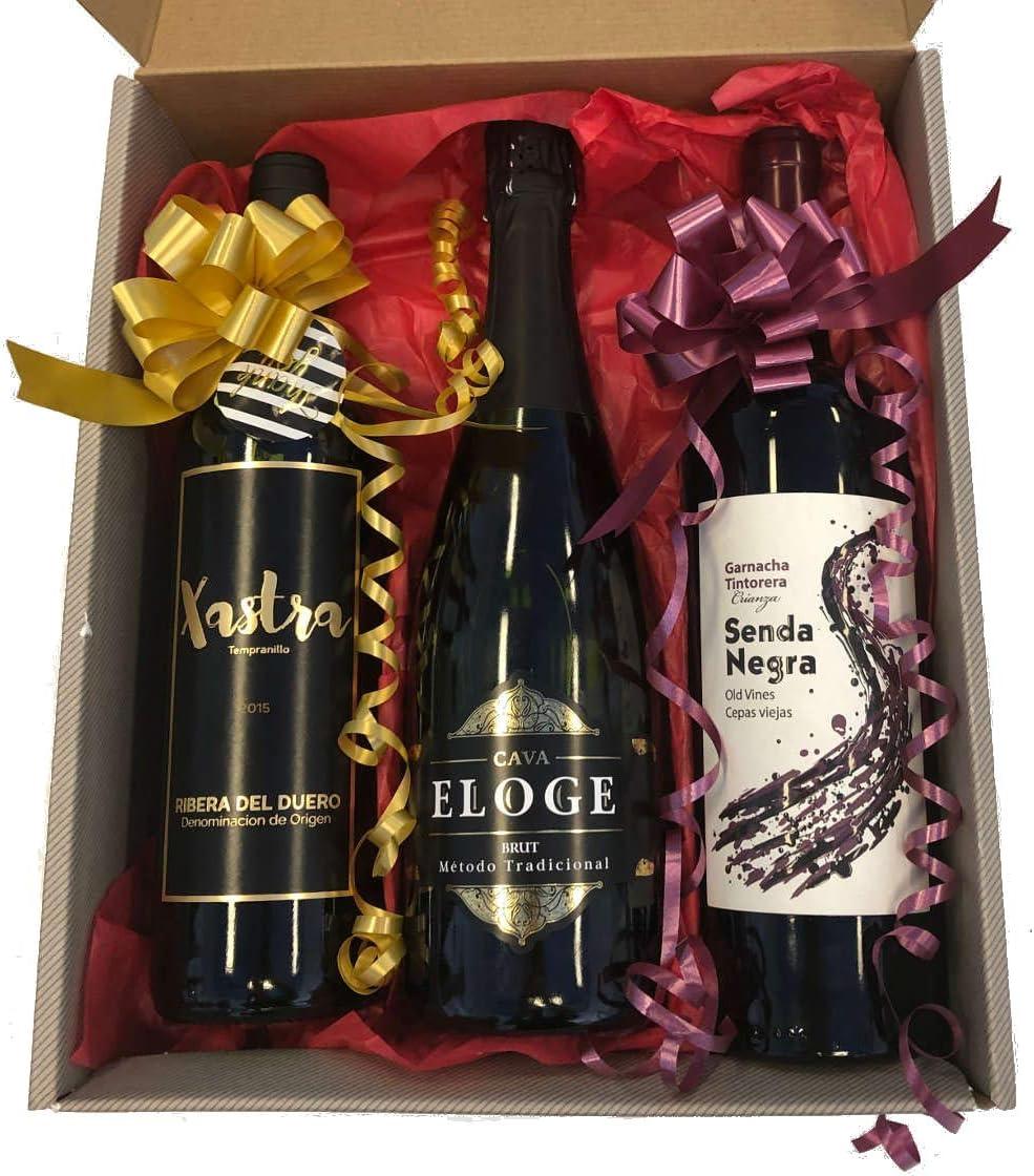 Caja de 3 botellas Xastra Roble Ribera del Duero, Senda Negra Garnacha Tintorera y Eloge Cava Brut: Amazon.es: Alimentación y bebidas
