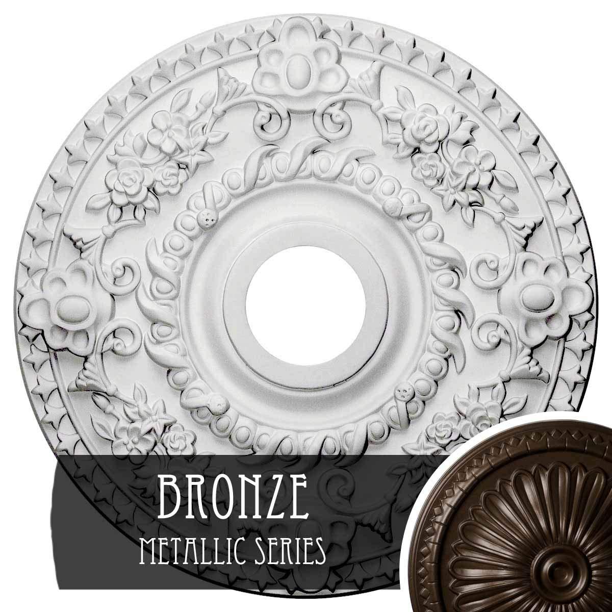 Ekena Millwork CM18ROBZS Rose Ceiling Medallion, Bronze