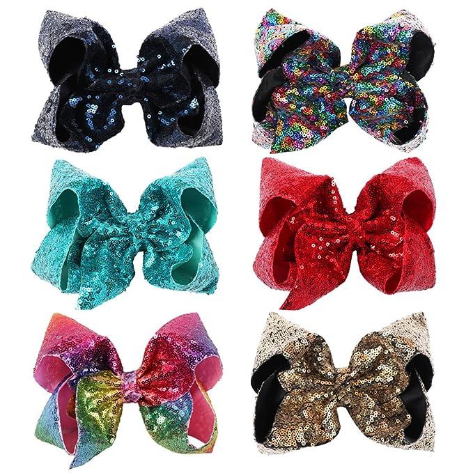 534131b847f7 Amazon.com: NCMAMA Sequin Ribbon Bows Set: 6-Pack Cute Hair Bows For ...