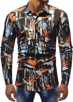 Oliviavan, Camisa Estampado Moda Hombre Camisas Manga Larga Casual Manga Larga seco Transpirable Estilo clásico Top de Seda Lisa a Forma de Naranja L: Amazon.es: Electrónica