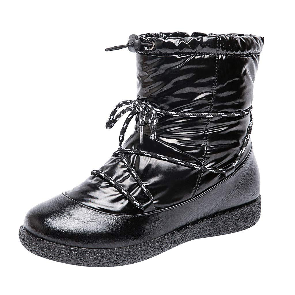 2019 New Warm Snow Boots,Waterproof Wide Calf Winter Warm Ankle Snow Boots with Zipper for Women Girl (US:11.0, Black) by Kinrui Women Shoes