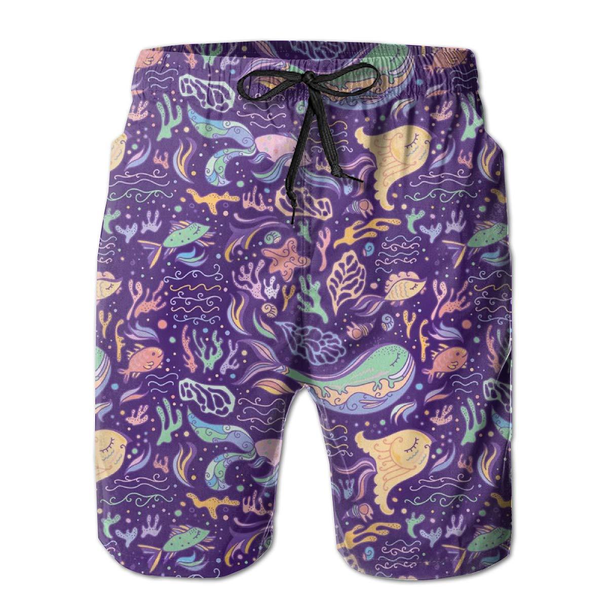 SARA NELL Mens Swim Trunks Purple Sea Pattern Surfing Beach Board Shorts Swimwear