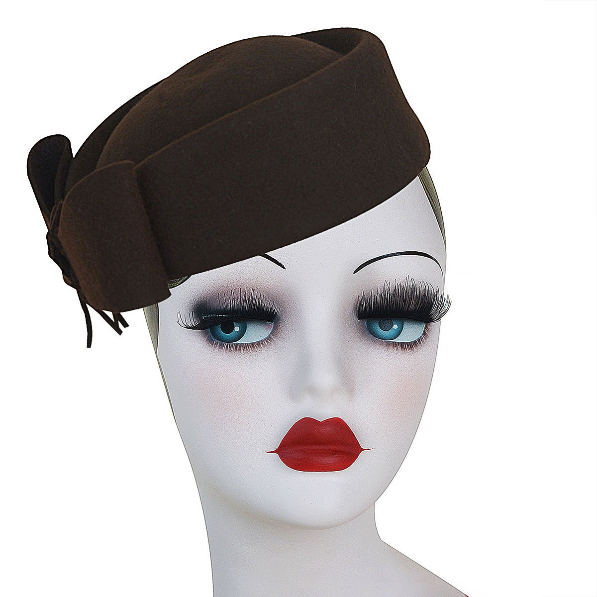 1950s Women's Hat Styles & History Lawliet Ladies Teardrop Fancy Wool Fascinator Cocktail Pillbox Hat Formal Racing A253 $27.99 AT vintagedancer.com