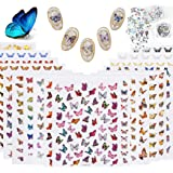Butterfly Nail Art Decals Water Transfer Stickers, 22 Sheets Butterfly Nail Sticker DIY Nail Decals, 2 Set Butterfly…