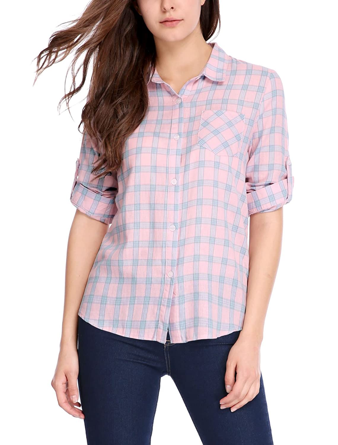 Allegra K Women's Convertible Sleeves Hi-Lo Hem Pocket Plaid Shirt