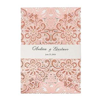 Amazon Com Wishmade 1pcs Pink Laser Cut Floral Lace Wedding