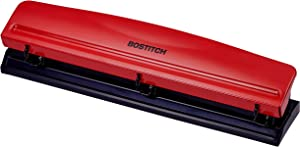 Bostitch Office 3 Hole Punch Heavy Duty Metal, 12 Sheet Capacity, Bright Red Color Professional Hole Puncher 3 Ring Holes, Home Office Supplies, Portable Desk Accessories (HP12 -Red)