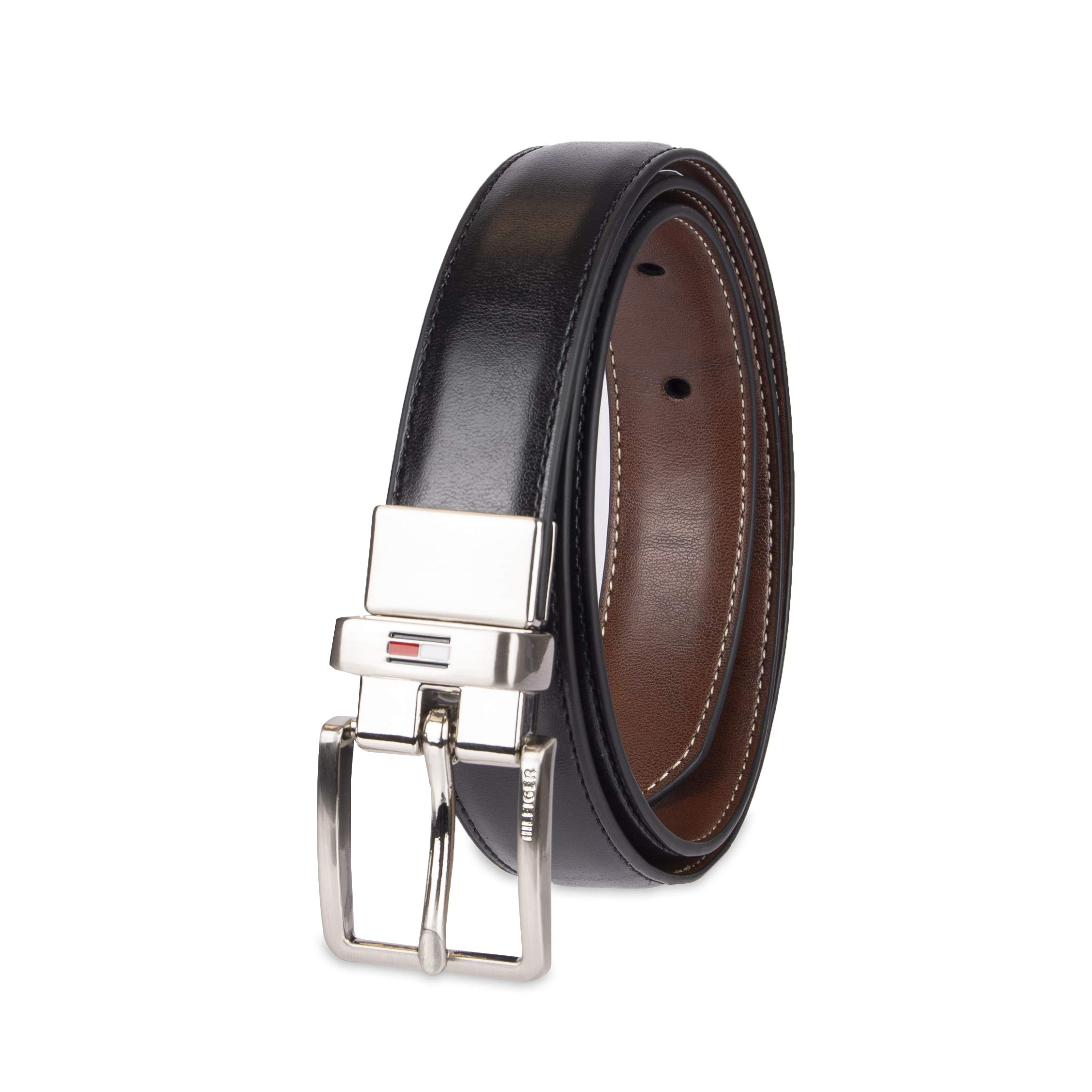 Tommy Hilfiger Boys' Big Reversible Dress Belt, black/cognac Small