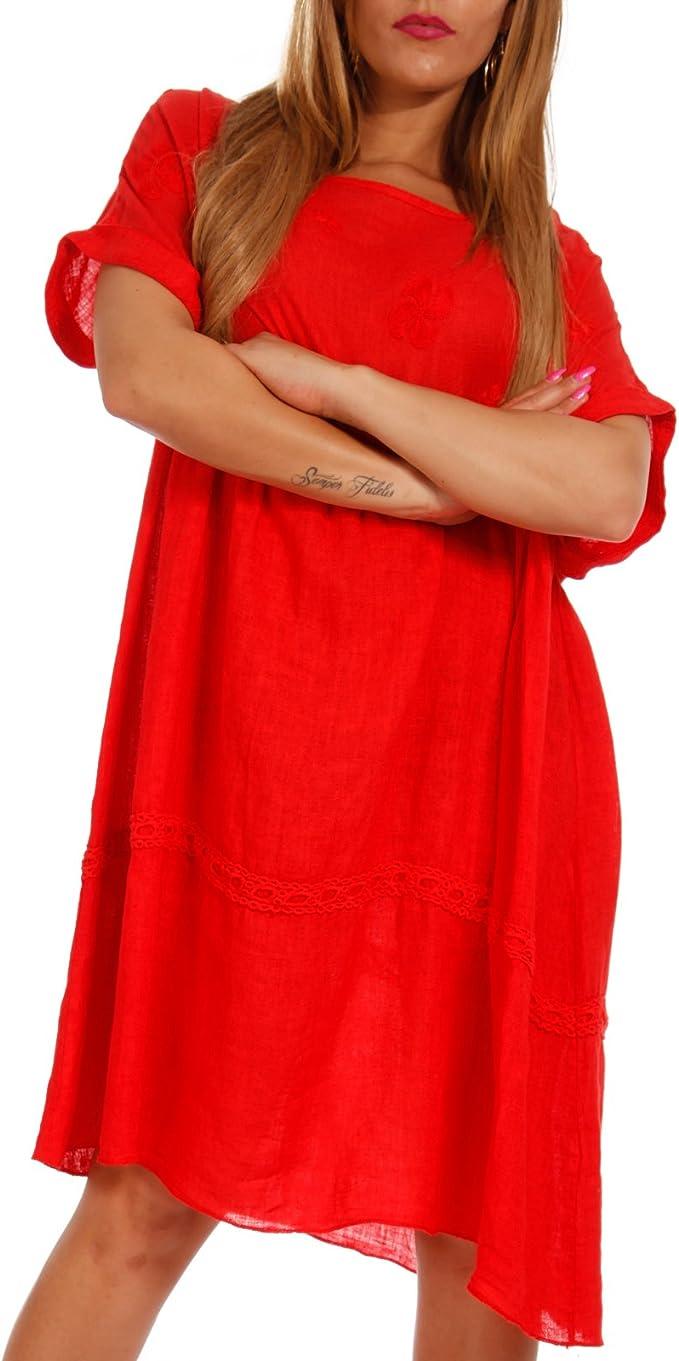 Made Italy Damen Kleid Leinenkleid Strandkleid Tunika Freizeitkleid Plus  Size Leine Kleid Jumper One Size