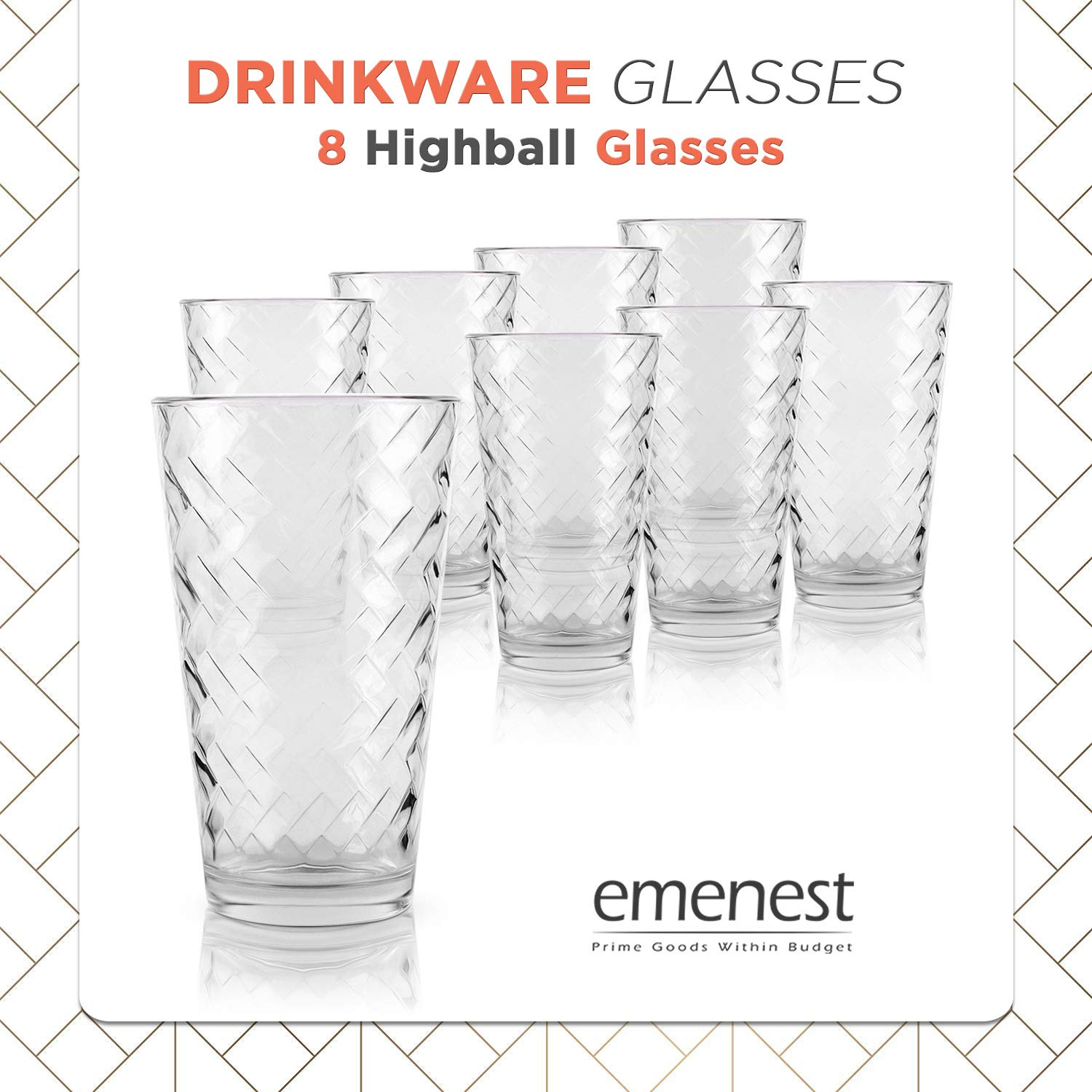 Cocktails Whiskey 10 Highball Drinkware Tumbler Set For Water Best Kitchen Gift Real Glassware with Heavy Base Clear Drinking Glasses Set of 10
