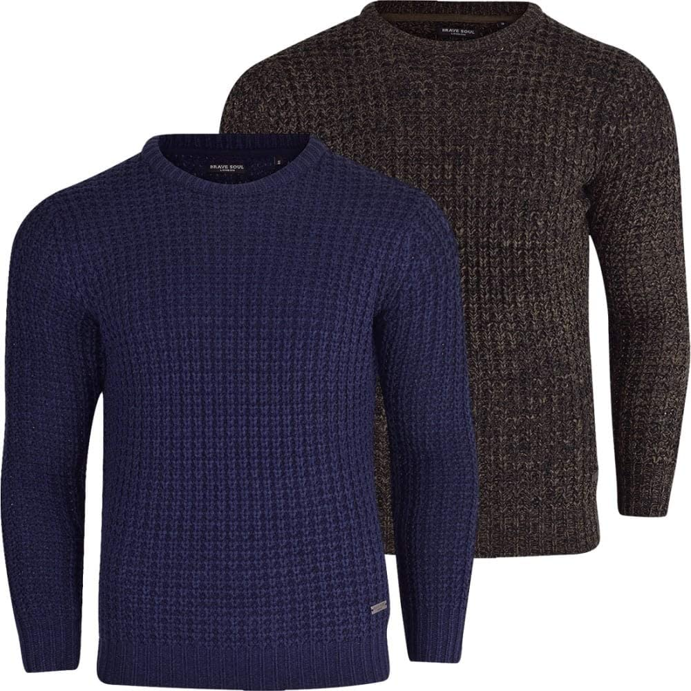 Brave Soul Mens High Quality /'Chunky Cable Knit/' Jumper Pullover Winter Sweater