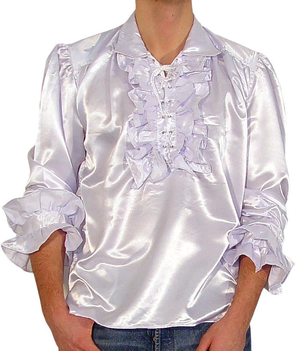 Volantes de satén camisa pirata camisa de boda talla XXL blanco 1436: Amazon.es: Deportes y aire libre