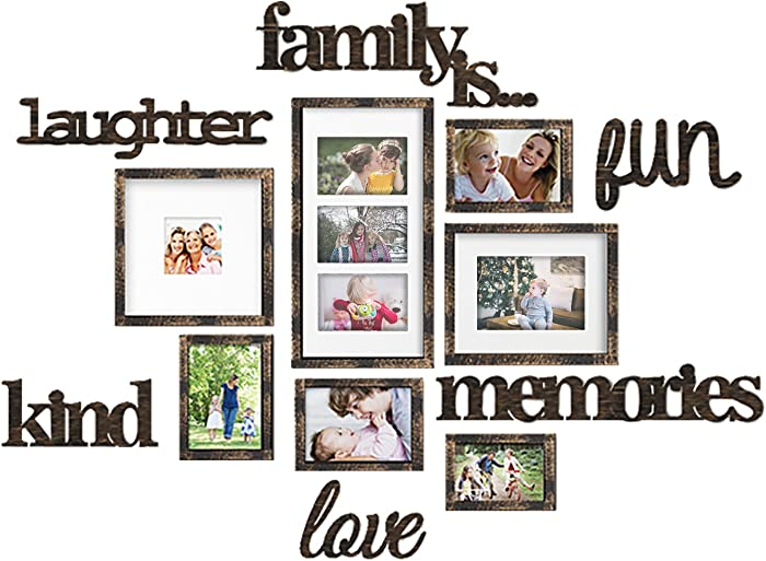 Jerry & Maggie - Photo Frame | Plaque College Frame - Brown Wall Decoration Combination - Bronze PVC Picture Frame Selfie Gallery Collage with Full Size Hanging Template & Wall Mounting Design