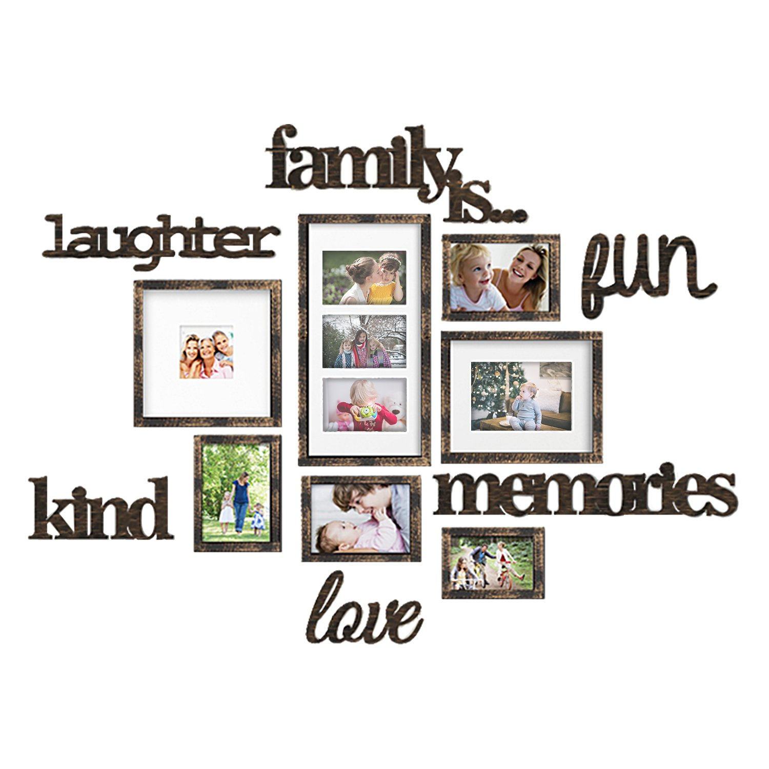 Jerry & Maggie - Photo Frame | Plaque College Frame - Wall Decoration Combination - Bronze PVC Picture Frame Selfie Gallery Collage with Full Size Hanging Template & Wall Mounting Design