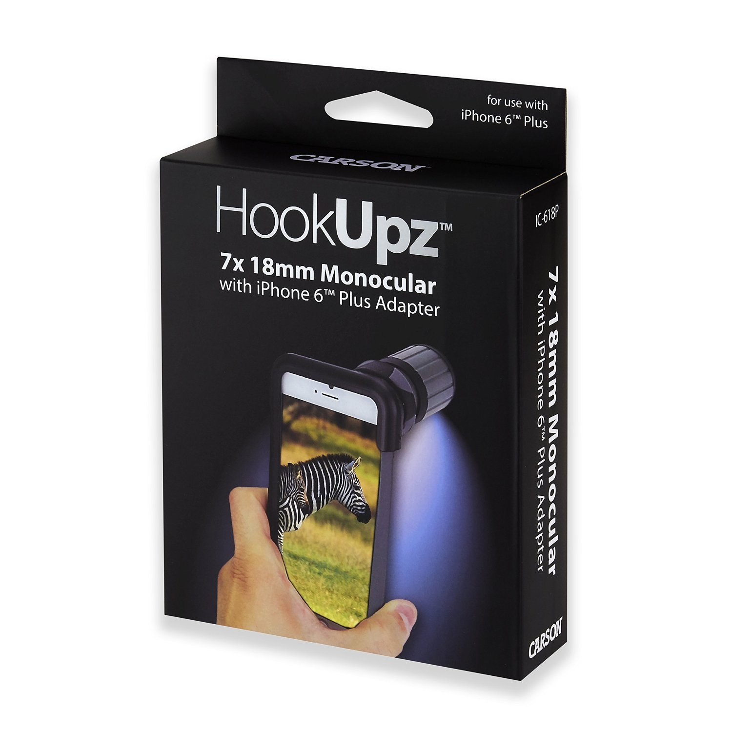 Carson HookUpz iPhone 6 Plus Digiscoping Adapter with 7x18mm Close Focus Monocular (IC-618P) by Carson