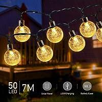 7M 50 LED Guirnaldas Luces Exterior Solar, TASMOR Cadena Solar de Luces USB Recargable IP65 Impermeable 8 Modos, Luces Guirnaldas Led para Interior, Jardines, Casas, Boda, Fiesta (Amarillo)