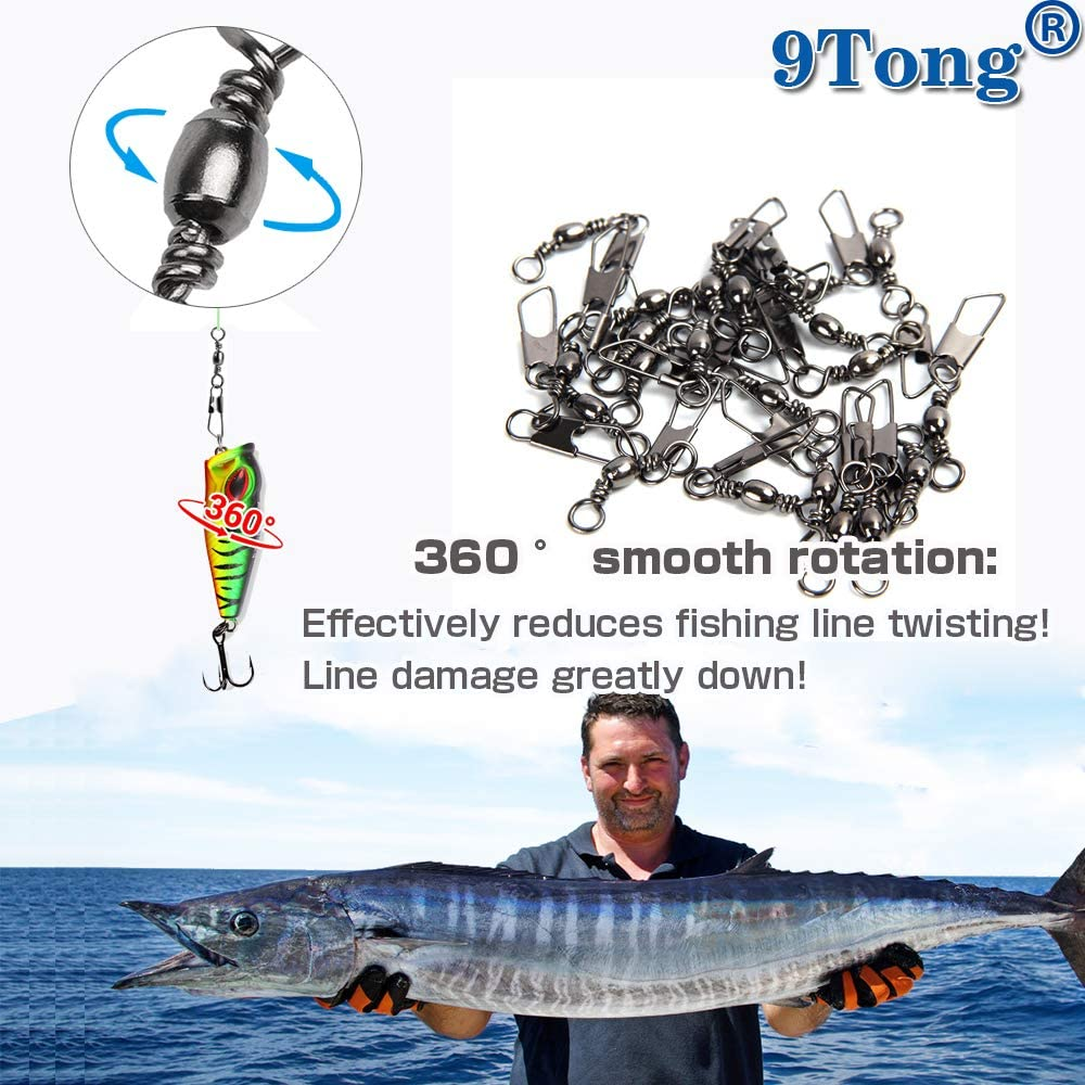 9Tong Stainless Steel Snap Swivel Saltwater High Strength Snaps Fishing Barrel Line Connector Fishing Swivels Barrel Safety Snap Fishing Tackle Stainless Steel Accessories