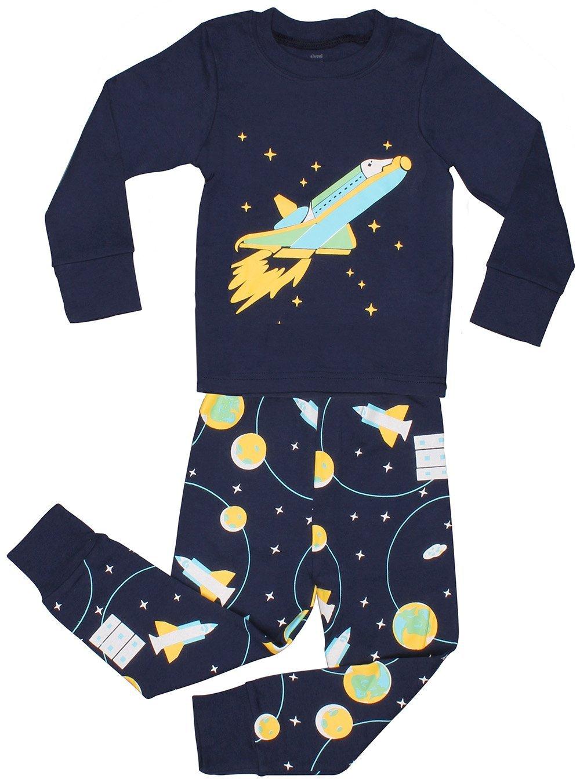 Elowel Little Boys Space Rocket 2 Piece Pajamas Set 100% Cotton Size 8 Blue