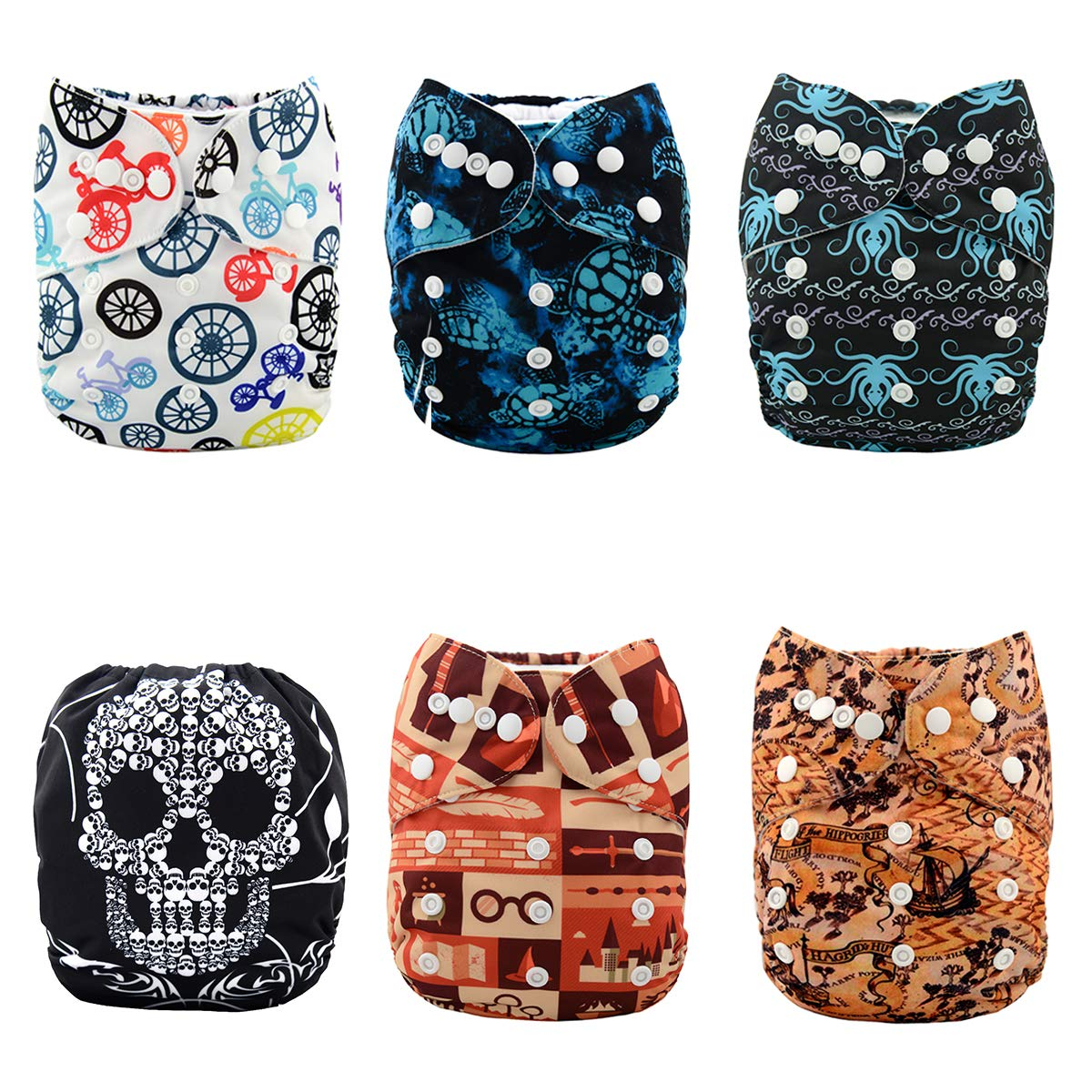 Alva Baby Pocket Cloth Nappies Reuseable Washable 6PCS Diapers + 12PCS Inserts 6DM27-EU Alvababy