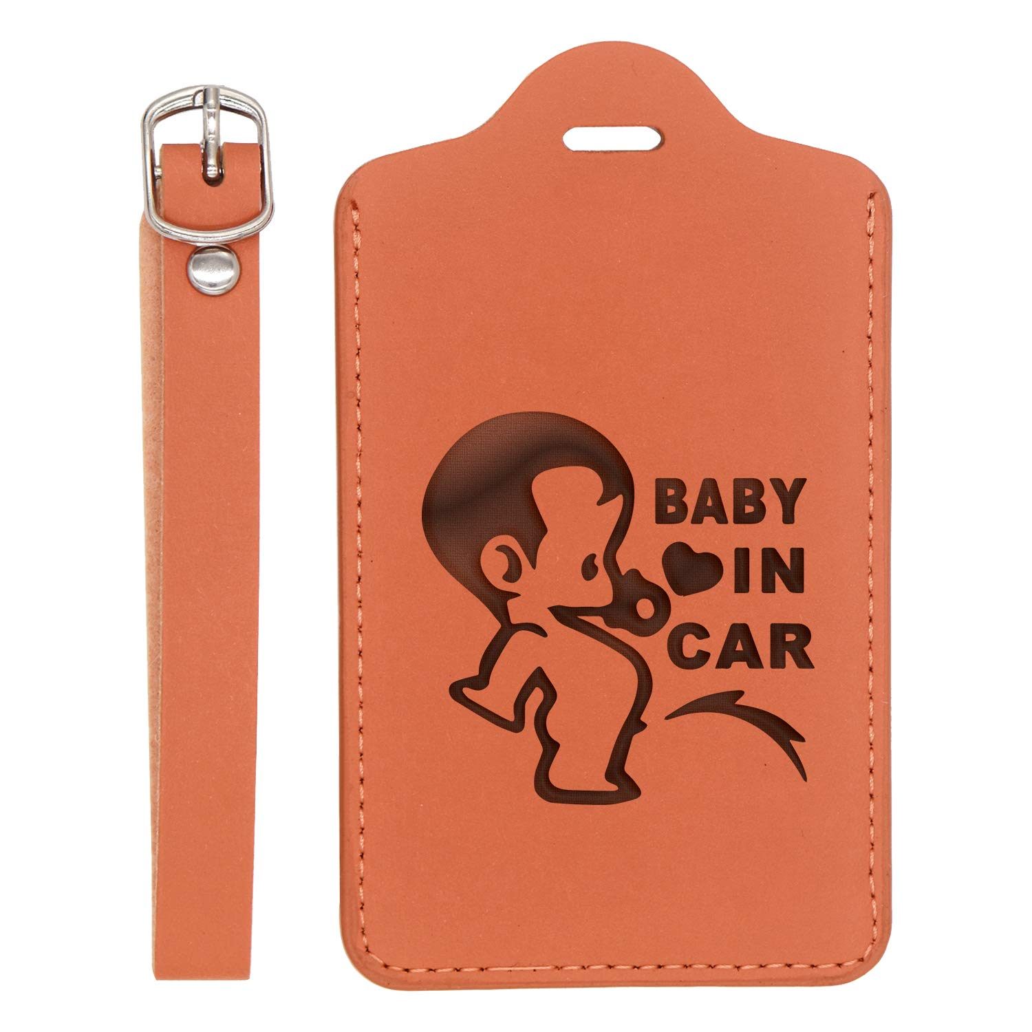 Baby In Car Engraved Synthetic Pu Leather Luggage Tag - United States Standard Handcrafted By Mastercraftsmen London Tan - Set Of 2 For Any Type Of Luggage