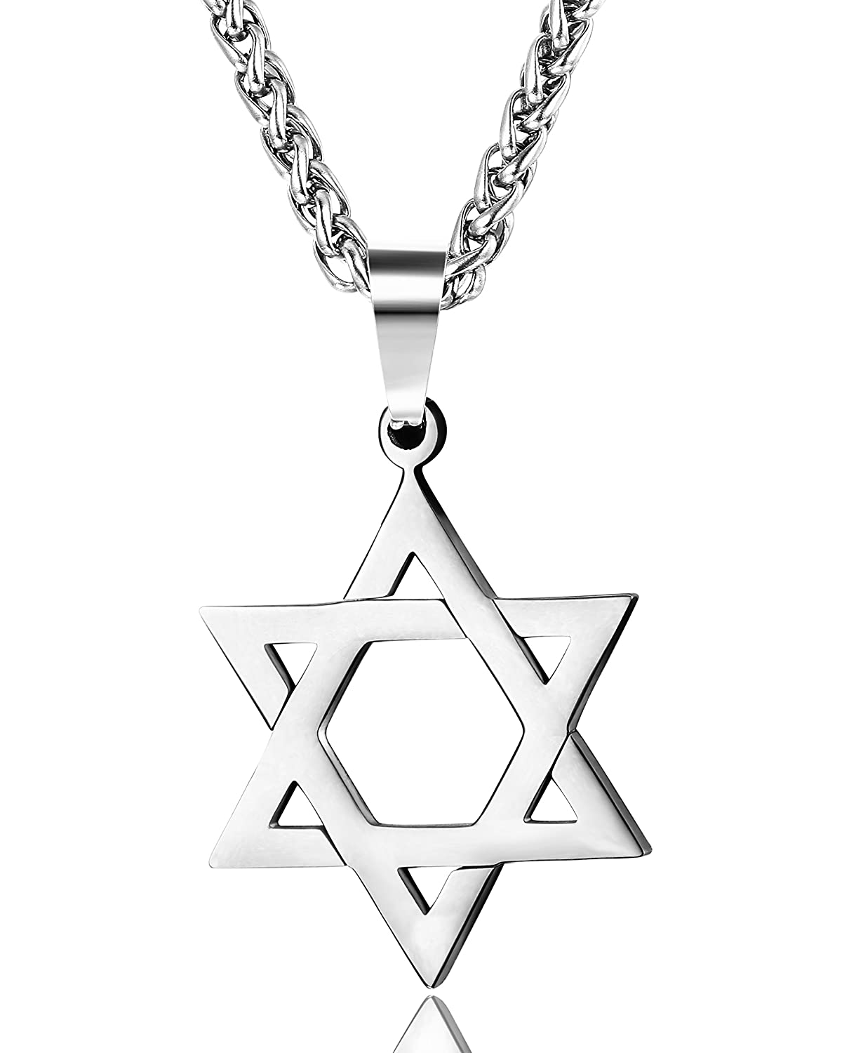 Udalyn Star David Pendant Necklace Stainless Steel Jewish Jewelry Men Women Religious 20