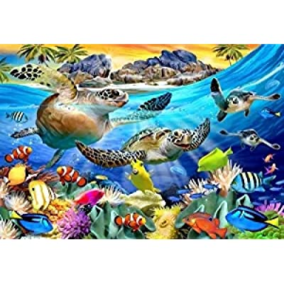 Gtllmm Jigsaw Puzzle Turtle Beach by 1000 Piece Adults Kids Wooden Jigsaw Puzzles 3D Classic Brain Puzzle Games Puzzles DIY Collectibles Modern Home Decoration 75X50Cm: Toys & Games