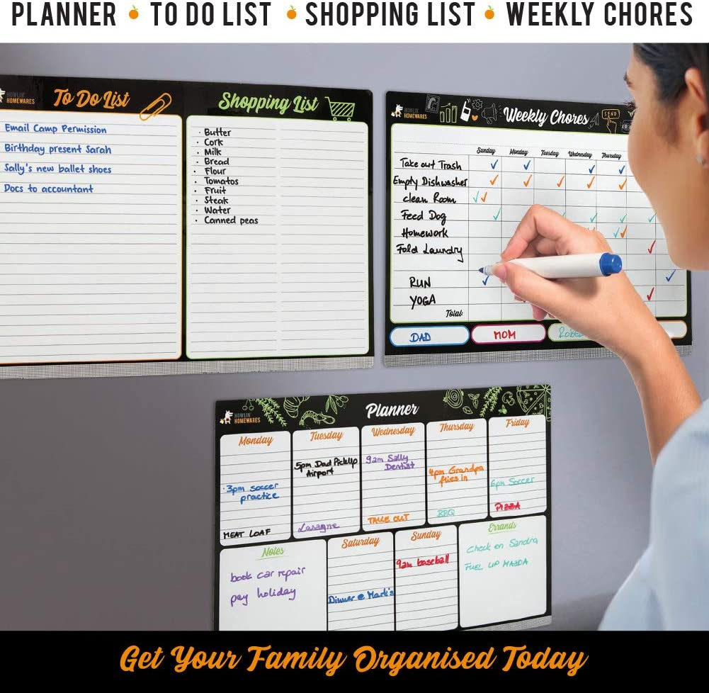 Weekly Planner Weekly Chores To Do List and Shopping List for Kitchen Fridge with Six Magnetic Fine Tip Pens with Eraser 8.27 /× 11.69 Howlin Homewares Magnetic Dry Erase Board for Refrigerator