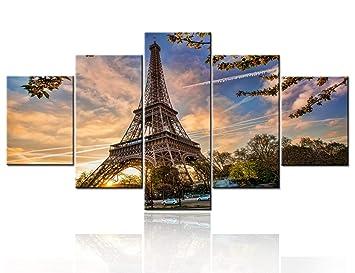 Amazon Com 5 Piece Canvas Wall Art Eiffel Tower In Golden Sunset