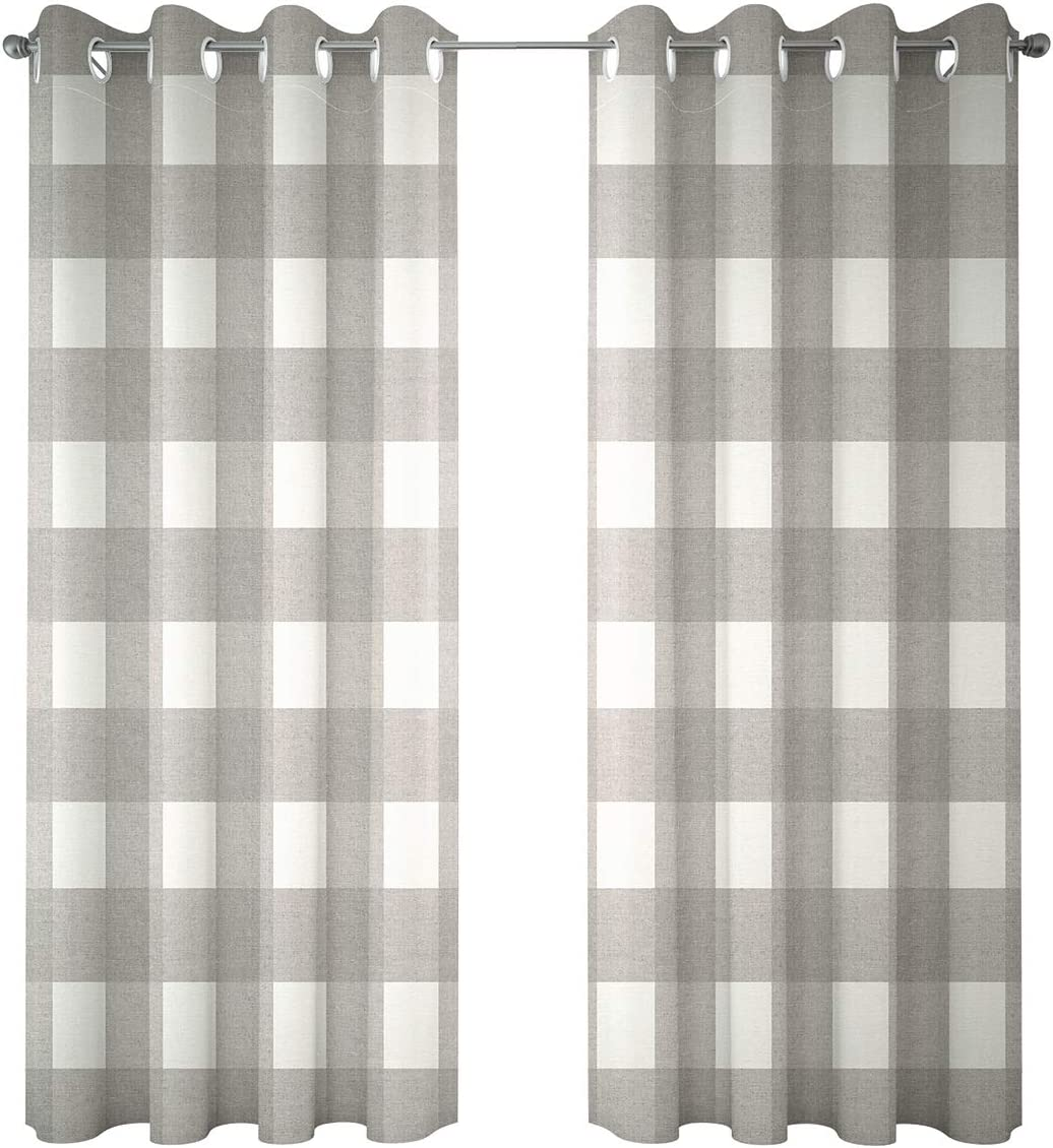 Riyidecor Grey and White Plaid Check Curtains Linen Lattice Grid Modern Classic Living Room Bedroom Window Drapes Treatment 2 Panels 52 x 84 Inch