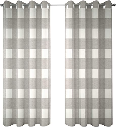 Riyidecor Grey Plaid Curtains Gingham Buffalo Check Linen Lattice Grid Checkered Brockwell Farmhouse Country Rustic Modern Classic Living Room Bedroom Window Drapes Treatment 2 Panels 52 x 84 Inch