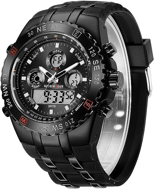 Orologio sportivo da uomo, impermeabile, cronometro, data, sveglia, luminoso, digitale, analogico, militare AF-124