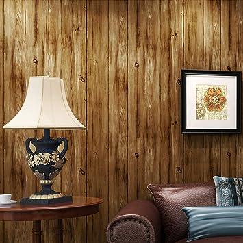 9,5 m Holz Vliestapete für Wohnzimmer awp16–026, braun (teak), 0.53 ...