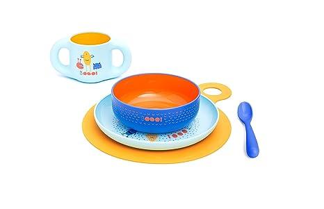 Suavinex - Set vajilla aprendizaje Booo (Taza, Plato, Bol, Cuchara y Mantel). Vajilla bebés +6 meses. apto para microondas y lavavajillas, color Azul