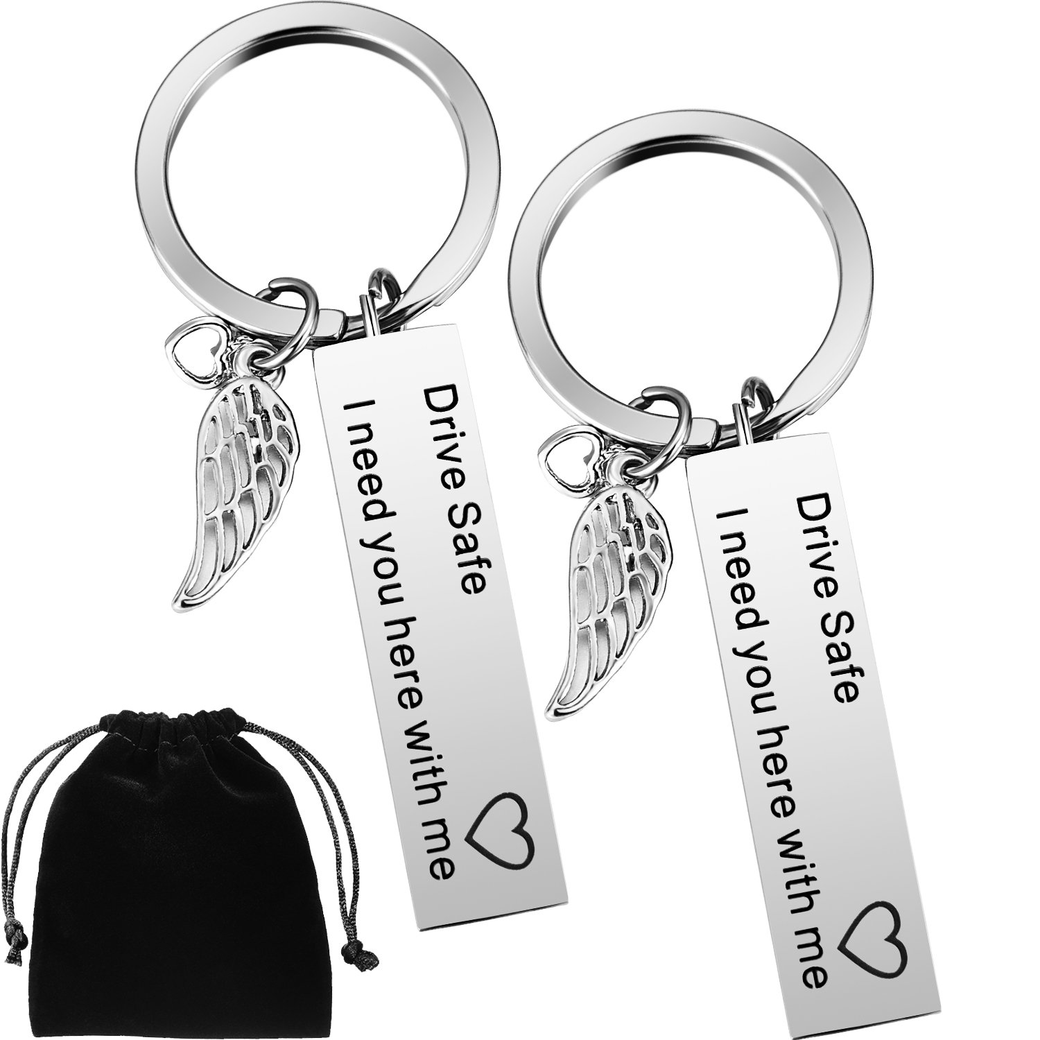 2 Pack Drive Safe Keychains with Wing Pendant I Need You Here with Me Keychain for Trucker Dad Husband Boyfriend Valentines Day Gift Boao