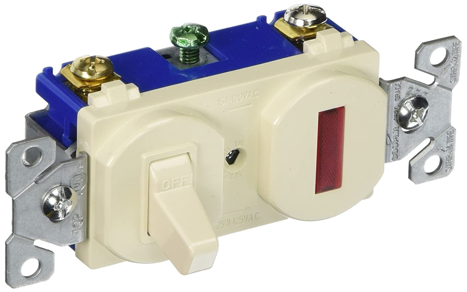 Eaton 277la Sp 15 Amp Single Pole Combination Toggle Switch And Commercial Pilot Light Almond Wall Switches