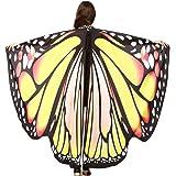 Carnaval Chal Hada duendecillo Cosplay Capa Disfraces Mantón de mariposa Moda Chal de Alas de Mariposa Duendecillo Disfraz para Mujer niños MMUJERY