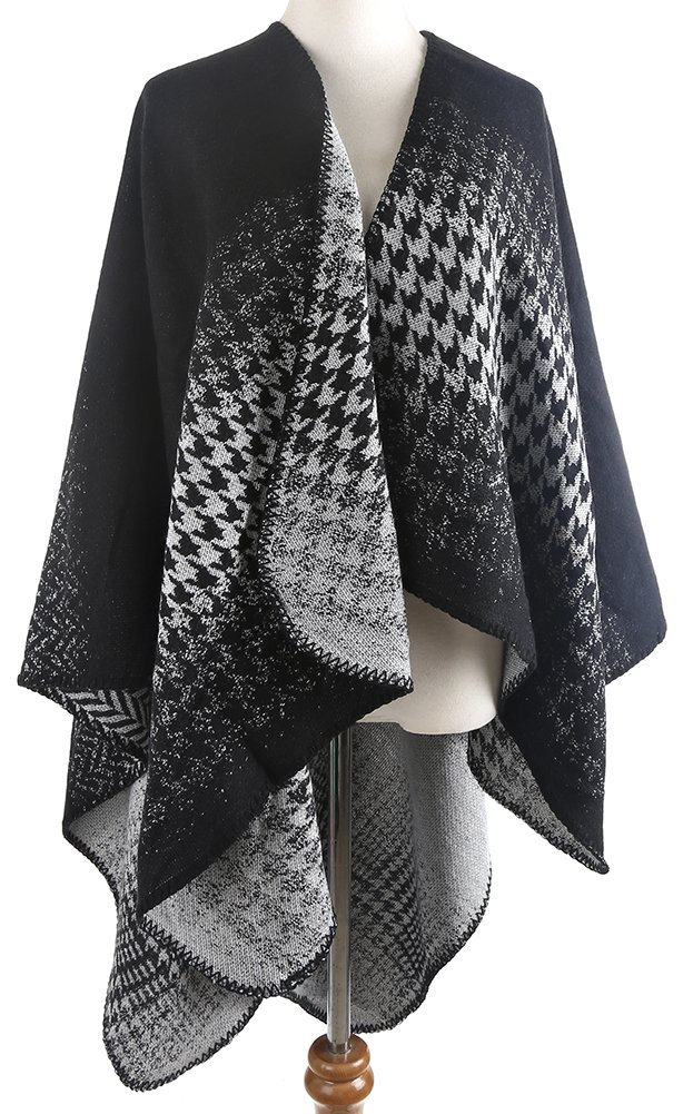 QZUnique Women's Blanket Winter Houndstooth Knitted Cardigans Scarf Shawl Poncho Cape Black White