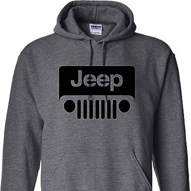 c4343411 Shirt Warehouse Jeep Wrabgler Logo on a Dark Heather Hoodie,Small