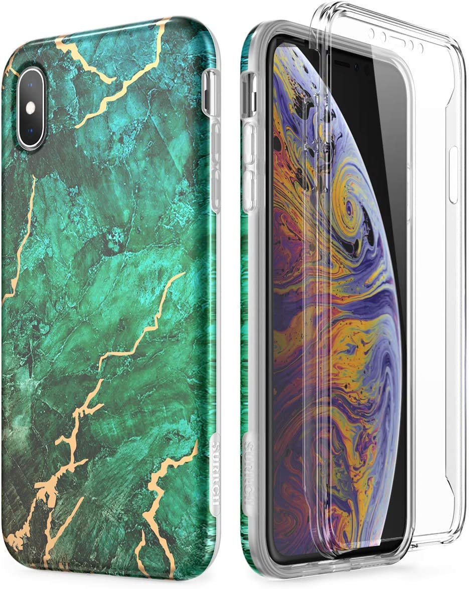 SURITCH Marble iPhone Xs Max Case, [Built-in Screen Protector] Full-Body Protection Hard PC Bumper + Glossy Soft TPU Rubber Gel Shockproof Cover Compatible with iPhone Xs Max- Green/Gold