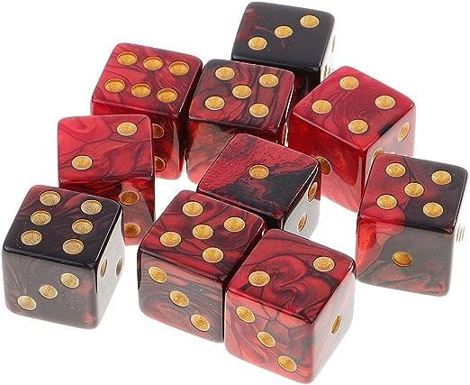 Set de 10 Piezas Seis Caras D6 Dados Juegos de Mesa Mazmorras y Dragones MTG Juegos RPG - Negro Rojo: Amazon.es: Juguetes y juegos