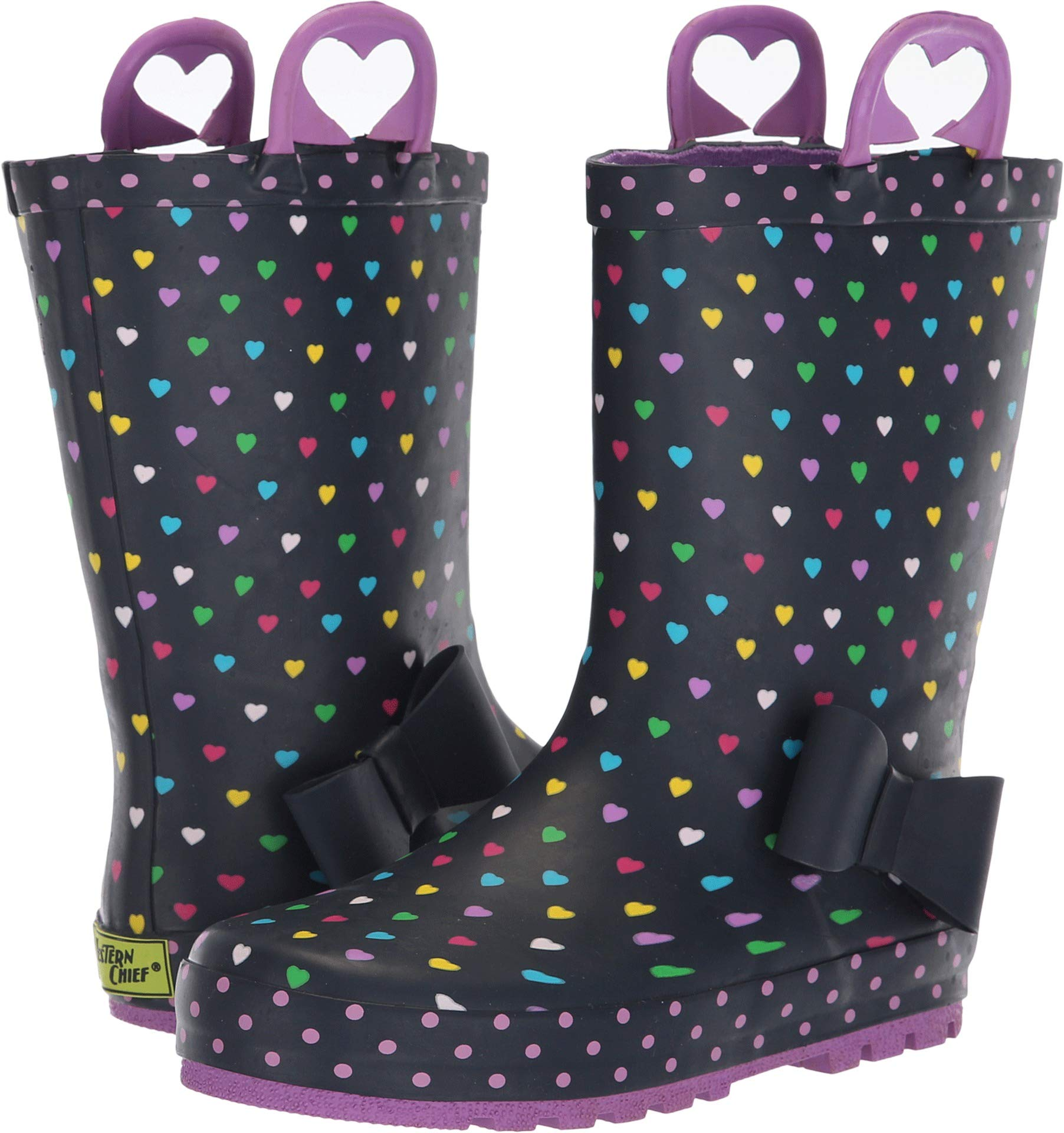 Western Chief Girls' WCK Heart Parade RAIN Boot, Navy, 12 M US Little Kid