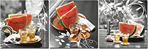 FUNHUA Watermelon Fruits Pictures Painting Wall Decor Beer Drinks Canvas Prints with Wooden Frame for Kitchen Restaurant Bedroom Home Office 12x12inchx3pcs