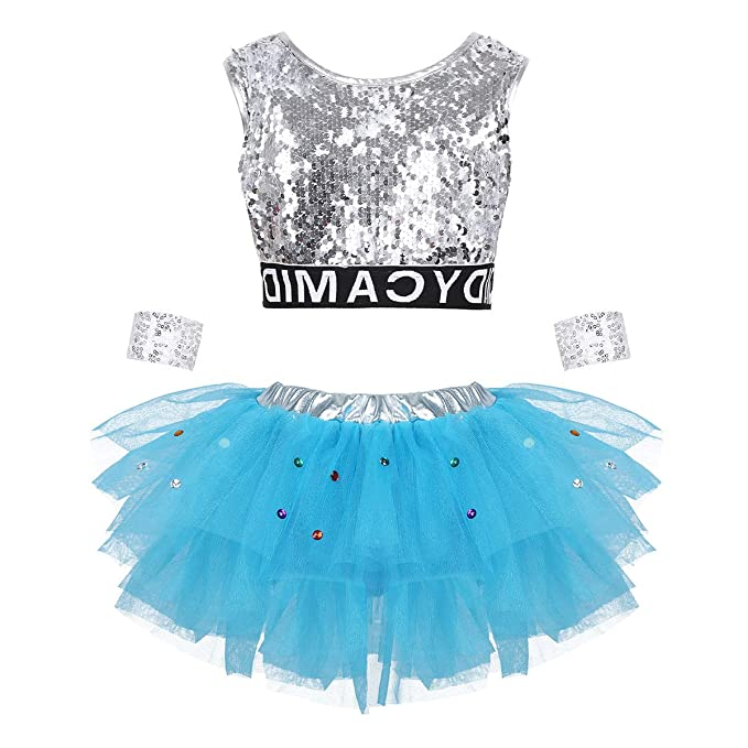 iiniim Conjunto de Ropa Hip Hop para Niña Vestido Lentejuelas Plateado Disfraz Bailarina Animadora de Ballet Danza Baile Crop Top Falda Tutú Traje de ...