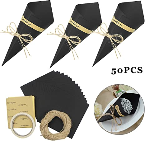50//100 Vintage Kraft Paper Cones Bouquet Candy Boxes Wedding Party Gifts Flower